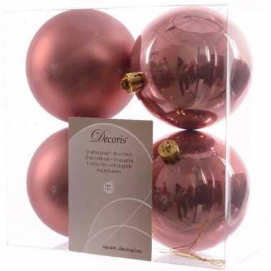 Sweet christmas kerstboom decoratie kerstballen 10 cm oud roze 4 stuks