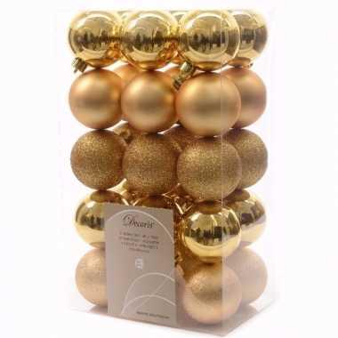 Sweet christmas kerstboom decoratie kerstballen 6 cm goud 30 stuks