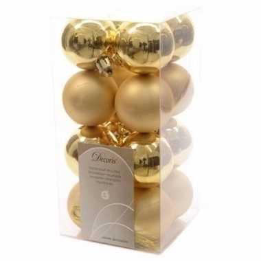 Sweet christmas kerstboom decoratie kerstballen goud 16 stuks 10097156