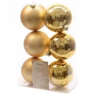 Sweet christmas kerstboom decoratie kerstballen goud 6 stuks