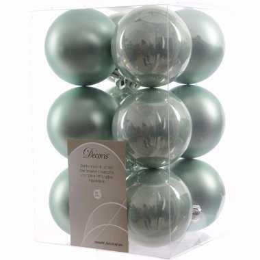 Sweet christmas kerstboom decoratie kerstballen mint 12 stuks