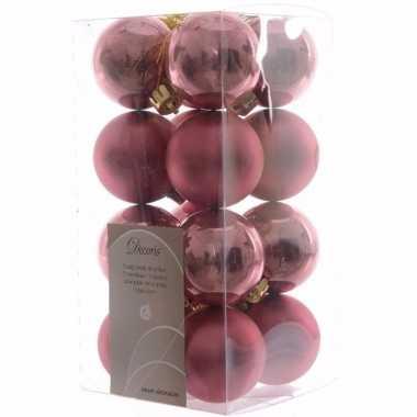 Sweet christmas kerstboom decoratie kerstballen oud roze 16 stuks