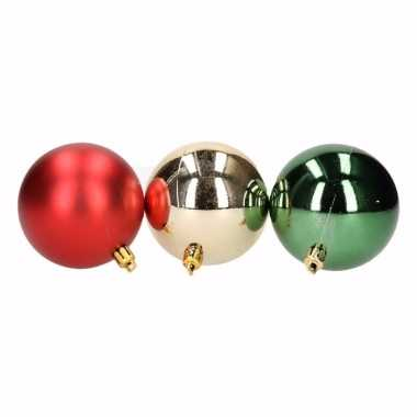 Traditional christmas 9 delige kerstballen set rood groen