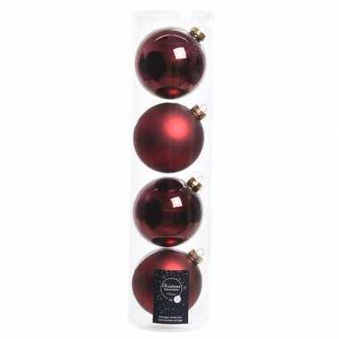 Tube met 4x donkerrode kerstballen van glas 10 cm glans en mat