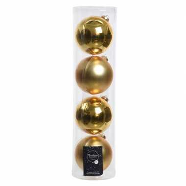 Tubes met 12x gouden kerstballen van glas 10 cm glans en mat