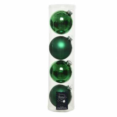 Tubes met 12x kerst groene kerstballen van glas 10 cm glans en mat
