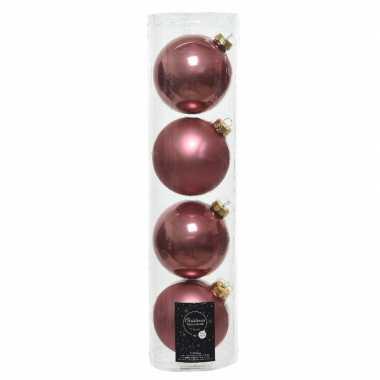 Tubes met 12x oud roze kerstballen van glas 10 cm glans en mat