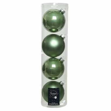 Tubes met 12x salie groene kerstballen van glas 10 cm glans en mat