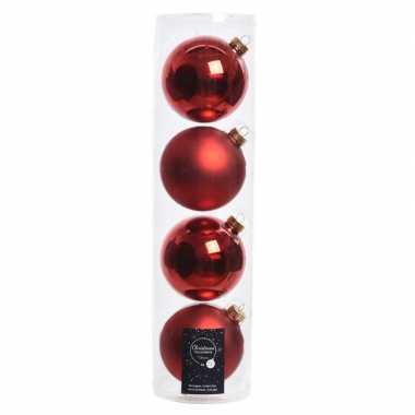 Tubes met 16x kerst rode kerstballen van glas 10 cm glans en mat