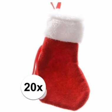 Voordelige kerstsokken 15 cm rood/wit 20 stuks