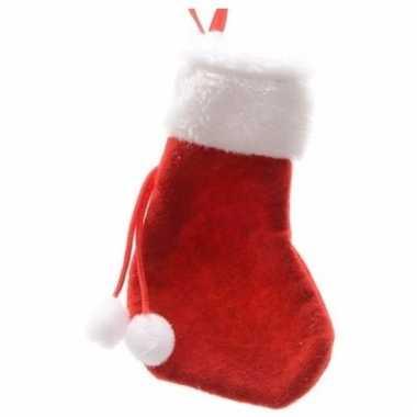 Voordelige kerstsokken 15 cm rood/wit