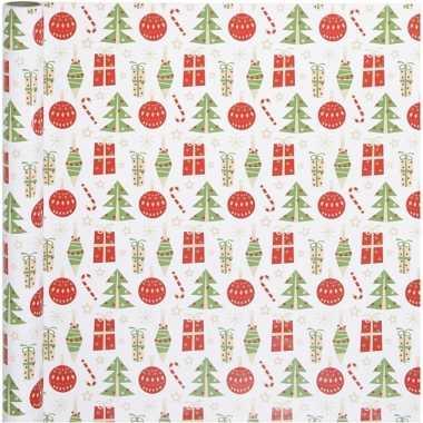 Wit kadopapier met rood/groene kerst elementen