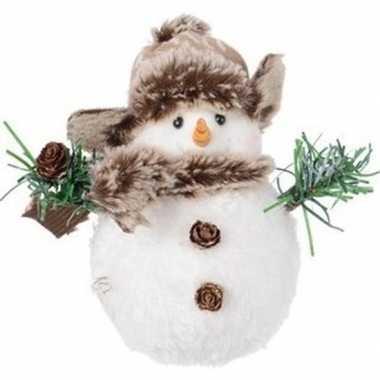Witte kerst decoratie sneeuwpoppen figuurtje 14 cm