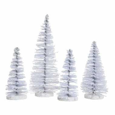 Witte kleine decoratie kerstboompjes 4 stuks