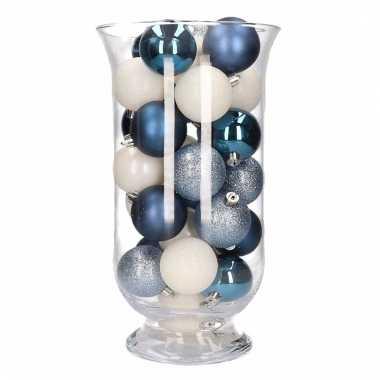 Woondecoratie vaas met blauw witte kerstballen