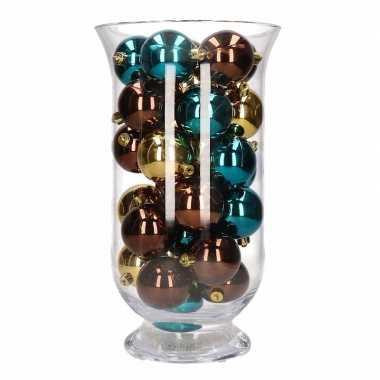 Woondecoratie vaas met bruin gouden kerstballen