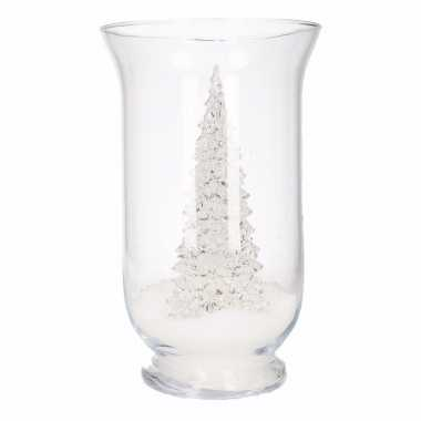 Woondecoratie vaas met kerstboompje multi kleur en sneeuw