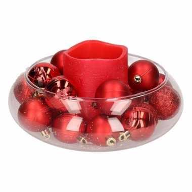 Woondecoratie vaas met rode waskaars en kerstballen 10 cm
