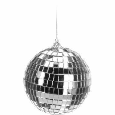 Zilveren disco kerstbal 10 cm