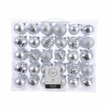 Zilveren kerst kerstballen mix 60 delig