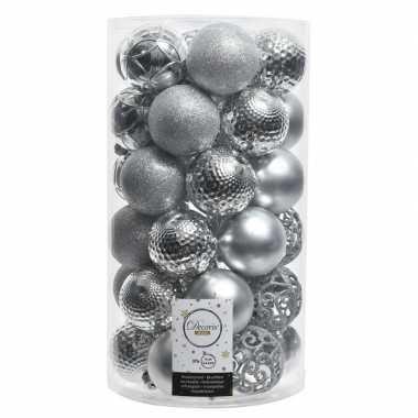 Zilveren kerstballen set 36 stuks
