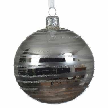 Zilveren kerstballen transparant 8 cm