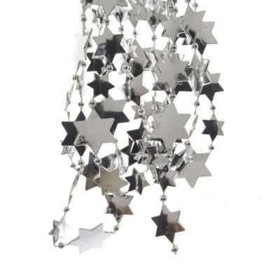 Zilveren kerstboom sterren kralenketting 270 cm