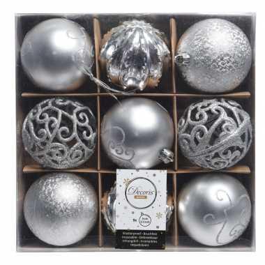 Zilveren kerstdecoratie kerstballen set van kunststof 9 stuks