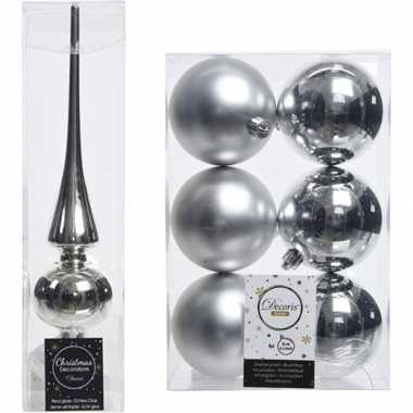 Zilveren kerstversiering/kerstdecoratie set piek en 6x kerstballen 8