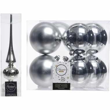 Zilveren kerstversiering/kerstdecoratie set piek en 8x kerstballen 10
