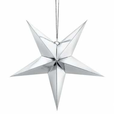 Zilveren sterren kerstdecoratie/ kerstster 70 cm