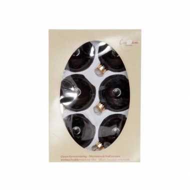 Zwarte kerstballen van glas 7 cm