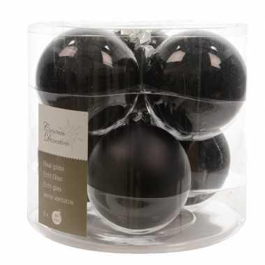 Zwarte kerstballenset glas 12 stuks
