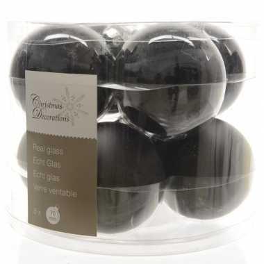 Zwarte kerstballenset glas 8 stuks