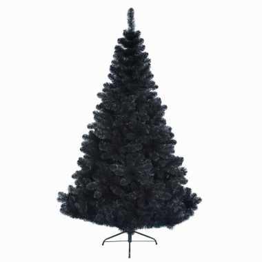 Zwarte kunstkerstboom op metalen voet 150 cm