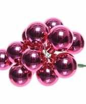 10x fuchsia roze mini kerststukjes insteek kerstballetjes 2 cm van glas