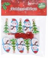 10x kerstkaart knijpers sneeuwpop kerstboom met ophangkoord