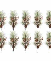 10x kersttakken met rode besjes 60 cm