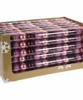 12 delige kerstballen set roze bordeaux