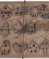 12x kerst hangdecoratie houten figuren bruin goud glitters