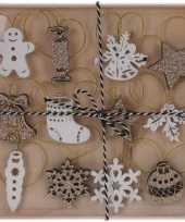12x kerst hangdecoratie houten figuren wit goud