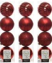 12x kunststof kerstballen mix kerstrood 10 cm kerstboom versiering decoratie