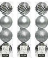 12x kunststof kerstballen mix zilver 10 cm kerstboom versiering decoratie