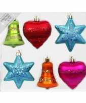 12x kunststof plastic ornamenten mix gekleurd 9 cm kerstversiering