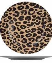 12x ronde kerstdiner diner borden onderborden panterprint 33 cm