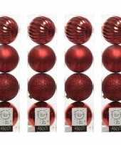 16x kunststof kerstballen mix kerstrood 10 cm kerstboom versiering decoratie