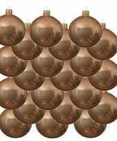 18x glazen kerstballen glans donker parel champagne 8 cm kerstboom versiering decoratie