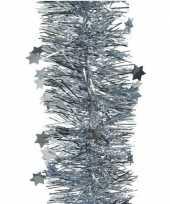 1x kerst lametta guirlandes lichtblauw glitters glinsterendmet sterren 10 cm breed x 270 cm kerstboom versiering decoratie