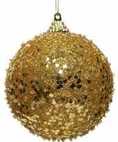 1x kerstballen gouden glitters 8 cm met glimmers kunststof kerstboom versiering decoratie
