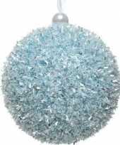 1x kerstballen ijsblauwe sneeuwbal 8 cm met glitterskunststof kerstboom versiering decoratie